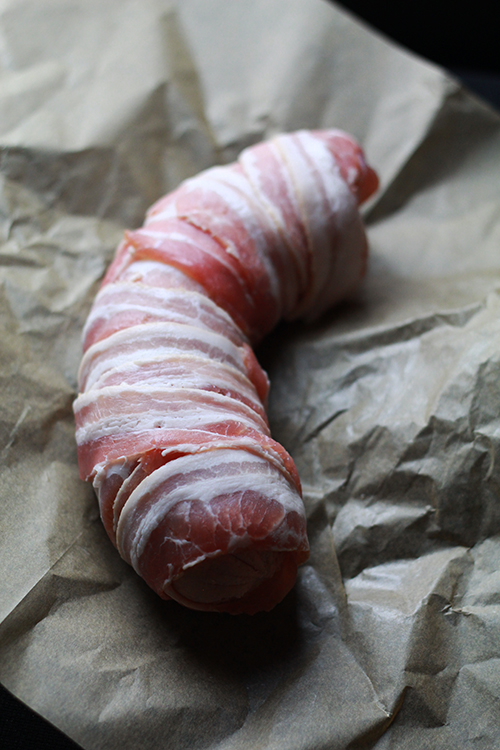 falukorv lindad i bacon